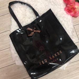 "Ted Baker Black patent leather tote.  ""As is""."